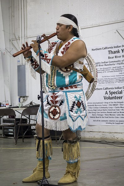 Sage Romero performs at the 33rd Annual Northwest Intertribal Gathering and Elders Diner. - MANUEL J. ORBEGOZO