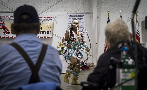 Sage Romero performs the Hoop dance. - MANUEL J. ORBEGOZO