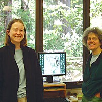 Saving Sam Sam, left, with her mentor Sue Hilton, a hydrologist, at the U.S. Forest Service's Redwood Sciences Lab in Arcata. Sam did attrition studies -- measuring how fast rocks break down in a stream channel. Photo courtesy Sue Hilton, Redwood Sciences Lab