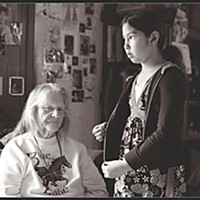Aiy-yu-kwee, Goodbye Sarah Hellen Studdert and granddaughter Sierra Buzzard at home in the Aiy-yu-kwee Mobile Home Park. Photo by Yulia Weeks