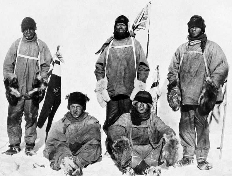 Scott and companions at the South Pole, Jan. 18, 1912, the day after they discovered they'd been beaten by Amundsen. L-R: Lawrence Oates, Henry Bowers (pulling string to operate the camera shutter), Scott, Dr. Edward Wilson, Edgar Evans. - PUBLIC DOMAIN