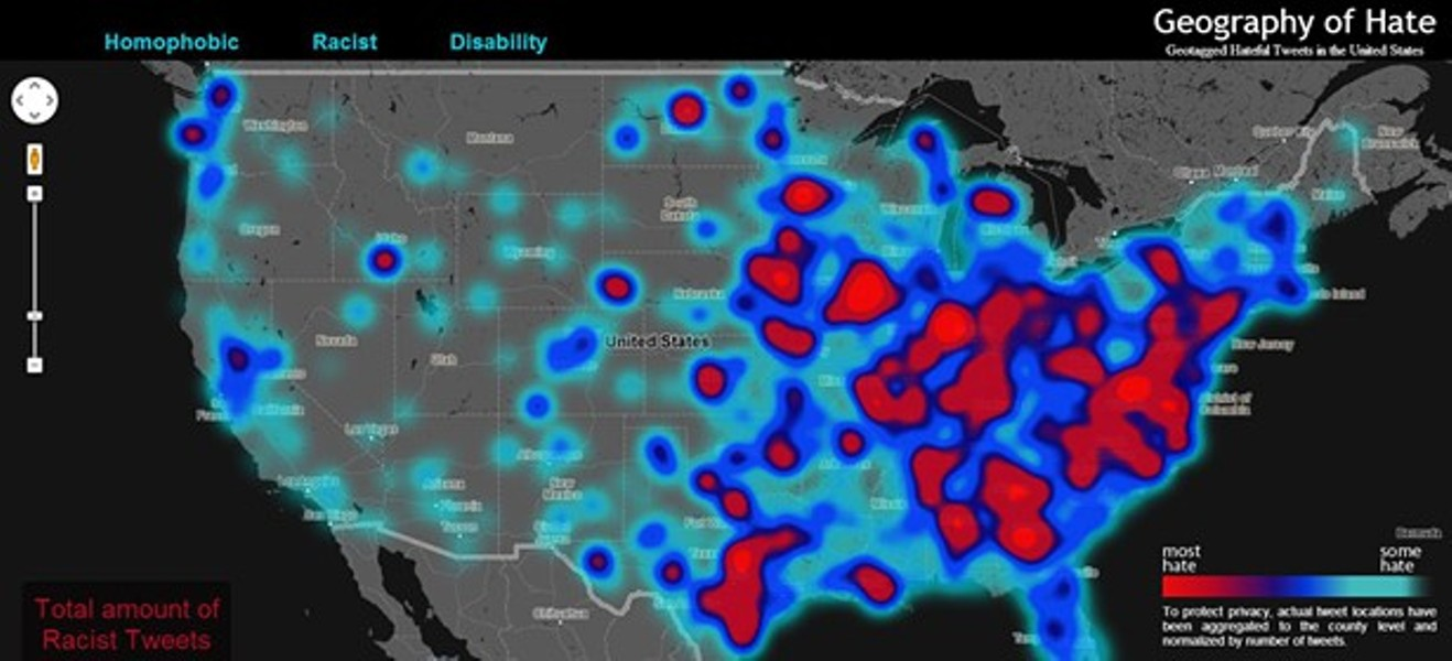 Screenshot of the Hate Map