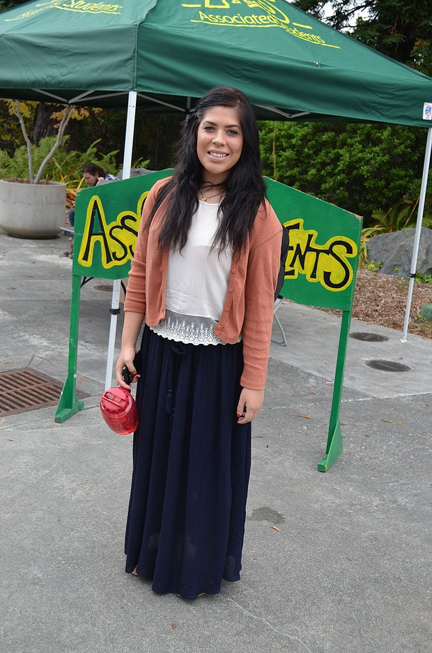 """Senior business management student Michelle is originally from San Jose. She thinks Humboldt is a """"cool place,"""" and we think her long skirt is pretty cool, too. - PHOTO BY SHARON RUCHTE"""