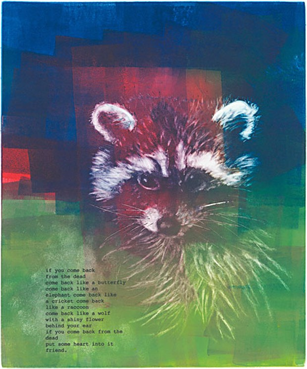 Sennott's monotype of a racoon illustrated with a poem by Lucero.
