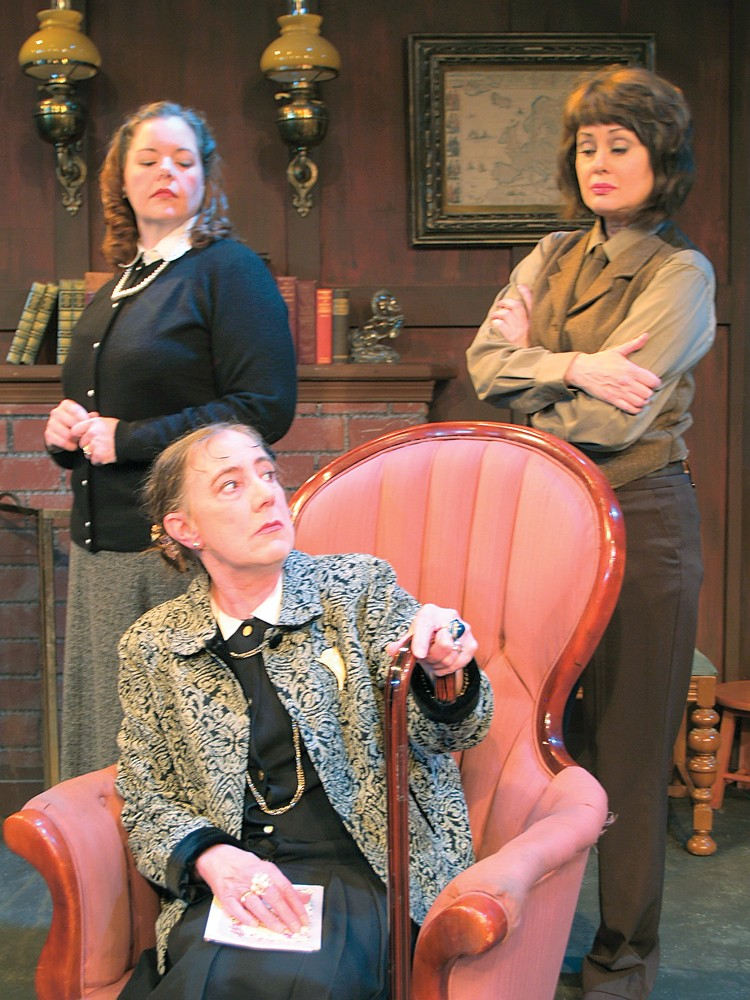 Shannan Dailey as Mollie (standing, left), Toodie Boll as Mrs. Boyle (seated), and Gloria Montgomery as Miss Casewell in NCRT's Mousetrap. - PHOTO COURTESY OF NCRT