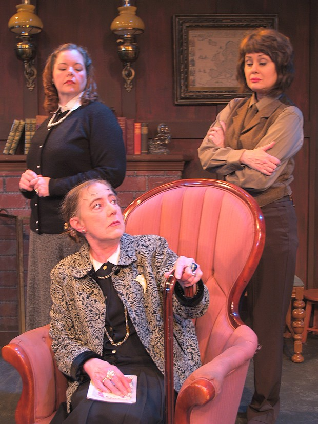 Shannan Dailey as Mollie, Toodie Boll as Mrs. Boyle, Gloria Montgomery as Miss Casewell in NCRT's 'The Mousetrap' - COURTESY OF NCRT