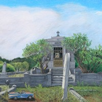 Jack Mays Artwork Shaw Tomb, from Ferndale Cemetery triptych Colored pencil drawing by Jack Mays, image courtesy of Carrie Grant