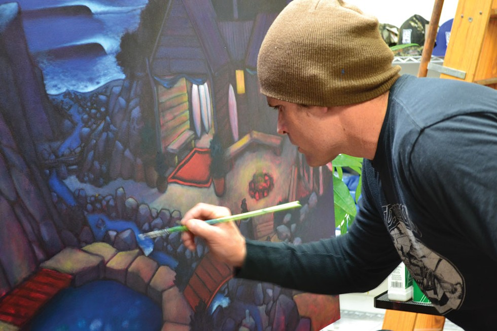 Shawn Griggs working on a new piece in his studio - PHOTO BY MELISSA SANDERSON
