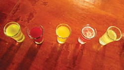 PHOTO BY NATALIE ARROYO - Shots, shots, shots of infused kombucha.