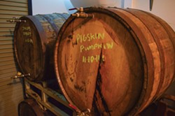 PHOTO BY GRANT SCOTT-GOFORTH - Six Rivers Brewery's Pigskin Pumpkin Ale aging in bourbon barrels.