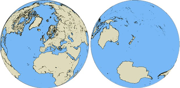 Slicing the Earth in two as shown maximizes the area of land in one hemisphere and of water in the other. The Land Hemisphere, left, contains seven-eighths of Earth's land. - REISO, PUBLIC DOMAIN
