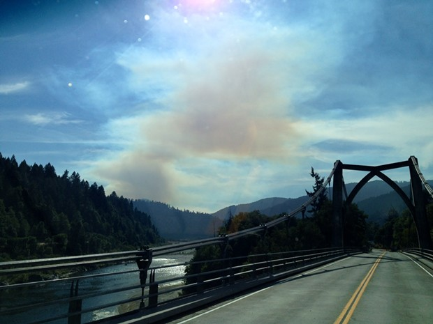 Smoke from the Bald Hill fire, in Hoopa, seen from Orleans. - PHOTO COURTESY AN NCJ READER