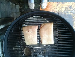PHOTO BY JADA CALYPSO BROTMAN - Smokin' bacon. Thank goodness brown sugar comes in 50 pound bags.
