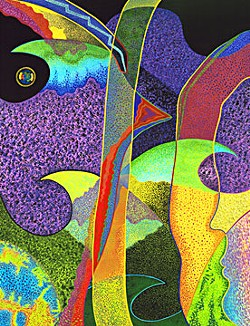 'Sojourn No. 3, 2006' watercolor and India ink on paper by Nina Groth, 31 3/16x24 1/8 inches