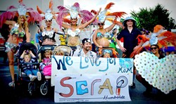 PHOTO COURTESY OF SCRAP - Some crafty SCRAP mamas in their recycled costumes at the Samba Parade in Arcata.
