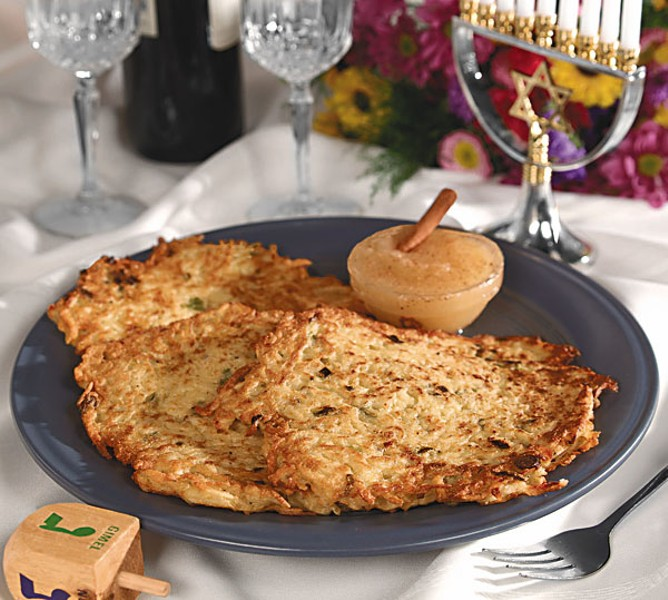 Some traditional potato latkes.