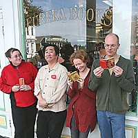 Flash Fiction Winners Staff of Eureka Books: (l-r) Jess Friedlander, Mark Shikuma, Amy Stewart, Scott Brown, photo by Bob Doran