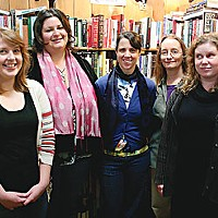 Flash Fiction Winners Staff of The Booklegger: (l-r) Vanessa St. Oegger, Gabriella Aragon, Jen McFadden, Nancy Short, Amy Waste, photo by Bob Doran