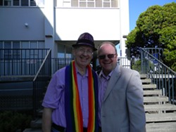 PHOTO BY CARRIE PEYTON DAHLBERG - Stan and Phillip Smith-Hanes were among those celebrating the Supreme Court rulings last week.