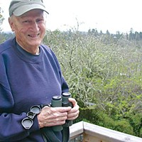 "Birders of America Stan ""Doc"" Harris on his back porch. Photo by Heidi Walters"