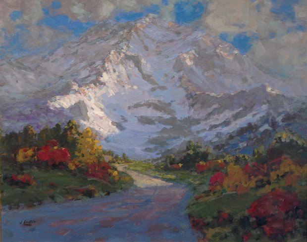 """Sunrise on Mount Shasta"" by John Crater is among the prize-winning pieces in the Redwood Art Association's spring exhibition."