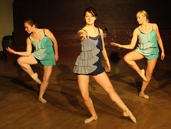 """Taryn Middaugh. Halie Gordon and Carrie Maschmeier in Maschmeier's piece """"It's Natural to be Afraid."""" Not shown, Delaney Goodman and Gina Bondi."""