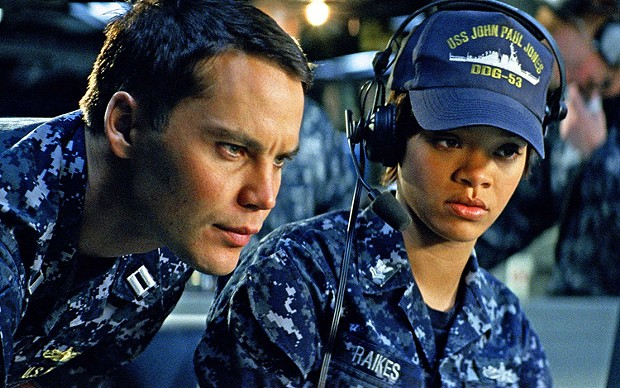 Taylor Kitsch and Rihanna in Battleship