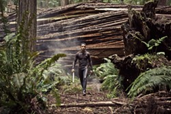 That's a funny-lookin' Ewok. Jaden Smith strolls through the redwoods in after earth.