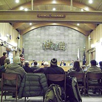 Cold Shoulders The Arcata City Council discussed its proposed anti-panhandling ordinance last week. Photo by Heidi Walters