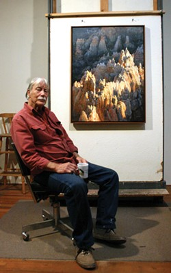 "PHOTO BY KEN WEIDERMAN - The artist with his painting ""Night and Day in the Queen's Garden."""