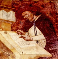 The earliest known representation of spectacles is found in the chapter house of San Nicolo, Treviso, Italy. This 1352 fresco by Tomaso da Modena shows the Dominican monk Hugues de St. Cher copying a manuscript. ©The College of Optometrists/Neil Handley