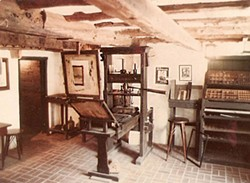 The Featherbed Alley Printshop Museum, St. George's, Bermuda, features a replica Gutenberg Press.