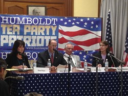 PHOTO BY THADEUS GREENSON - The four candidates to become Humboldt County's next district attorney — Elan Firpo, Allan Dollison, Arnie Klein and Maggie Fleming (from left to right) — discuss the death penalty at a March 13 debate hosted by the Humboldt County Tea Party Patriots.