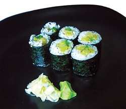PHOTO BY JENNIFER FUMIKO CAHILL - The gluten-free tempura yam roll at Kyoto (cue choir).