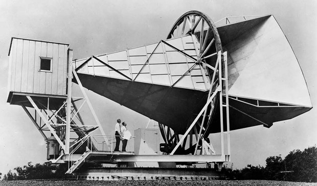 The Holmdel, N.J., horn antenna on which Penzias and Wilson (seen in the photo) discovered the cosmic microwave background radiation in 1965. - NASA