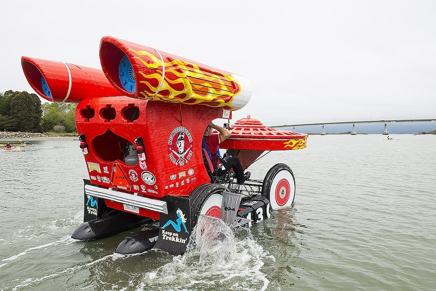 The Hot Roddenberrys head for the Samoa Bridge on Humboldt Bay during the second day of the 2015 Kinetic Grand Championship. - MARK MCKENNA