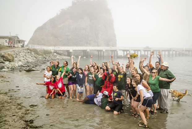 The HSU group takes a moment to pose for the camera after the plunge. - MARK LARSON PHOTOGRAPHY