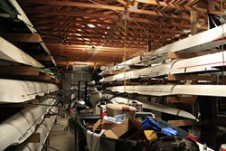 PHOTO BY ZACH ST. GEORGE - The Humboldt Bay Rowing Association Boathouse, near the Samoa Bridge. The HSU men and women's team share the space with the Humboldt Bay Rowing Association until the women move after the completion of the dock at the Humboldt Bay Aquatic Center.