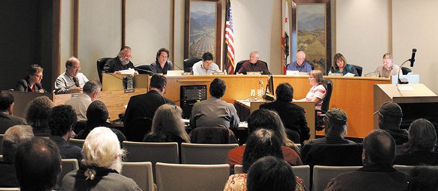 The Humboldt County Planning Commission discusses a draft outdoor medical marijuana growing ordinance at a recent meeting. - THADEUS GREENSON