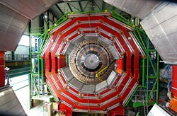 EUROPEAN COUNCIL FOR NUCLEAR RESEARCH. - The Large Hadron Collider's Compact Muon Solenoid under construction in 2005. The 50-foot-diameter, 12,500-ton detector was key to the discovery of the Higgs Particle in 2012.
