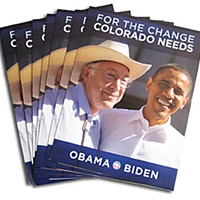 Ground Game The nimble Obama campaign switched cover photos on a campaign brochure to take advantage of Sen. Ken Salazar's huge popularity in Colorado. Photo by Judy Hodgson.