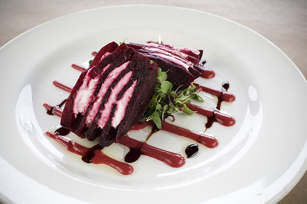The roasted beet tower  at Moonstone Grill. - PHOTO BY ROCKY ARROYO