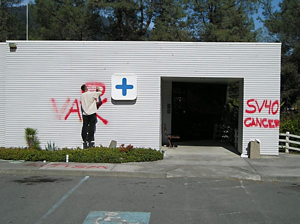 The vandalized Six Rivers Medical Center in Willow Creek. Photo by Ken Malcomson