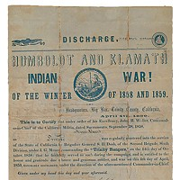 Genocide and Extortion This honorable discharge from the Trinity Rangers would be worth about $42,000 in today's money. courtesy of the Robert B. Honeyman, Jr. Collection, Bancroft Library, University of California, Berkeley