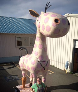 PHOTO BY MALIA PENHALL. - This is what happens when you don't vaccinate your giant pony. The sculpture, to be revealed during Arts! Arcata, is created by local visual artist Lush Newton with engineering assistance from James Hildebrandt and is sponsored by Arcata Playhouse and the Creamery District.