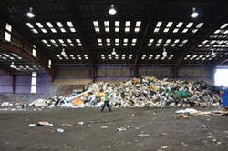 PHOTO BY DREW HYLAND - This mountain of trash at the Humboldt Waste Management Authority transfer station is headed to a landfill, but the station also handles recyclables from Arcata, Eureka and unincorporated areas of the county.