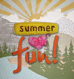 LYNN JONES - This week's cover art was hand-cut and assembled by NCJ graphic artist Lynn Jones using nifty paper from Scrapper's edge, a toy basketball, fabric scraps and an ear of corn hand-lettered with a soldering iron.