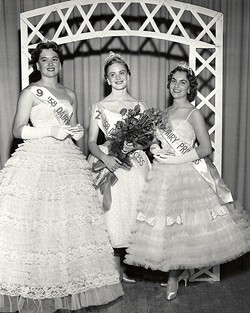 PHOTO COURTESY JOAN BOYNTON FRAKES - Three of California's first dairy princesses, in their formals at the 1958 state dairy princess contest. District 1's (Humboldt and Del Norte counties') Joan Boynton (married name Frakes) is on the right.