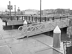 Tide difference of seven feet at C Street dock, Eureka on Nov. 24. (This photo shows high tide.) Photo by Barry Evans