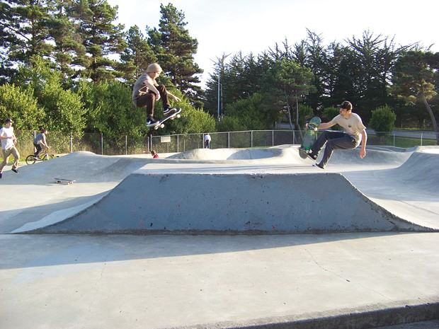 Timothy Garcia, left, and Vincent Peinado on the pyramid at the Arcata Skate Park. - PHOTO BY HEIDI WALTERS